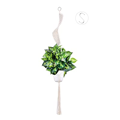 Nxconsu Plant Hanger Macrame Indoor Outdoor Handmade Hanging Planter Basket Cotton Rope Boho Spiral Home Decor with Hook (Spiral): Garden & Outdoor