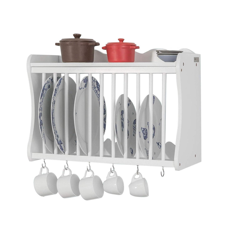 SoBuy Porta Piatti Organizer Cucina, piattaia Shabby da Parete Bianco FRG275-W