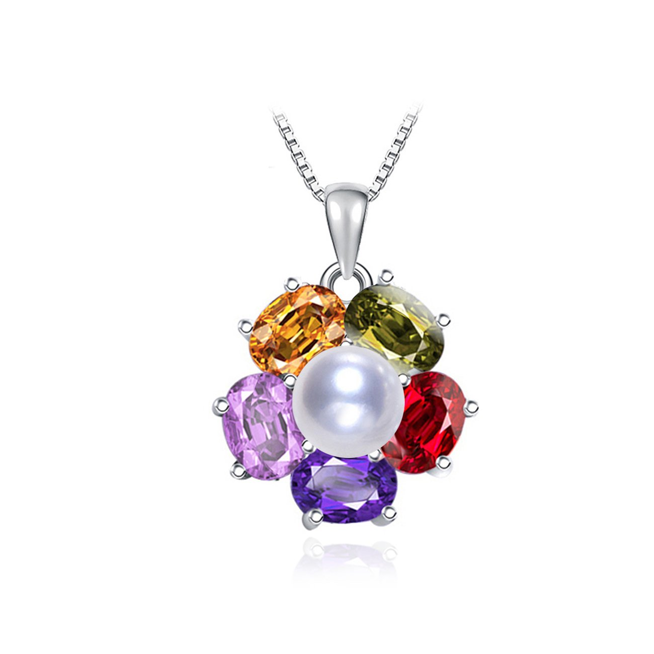 LSOOYH Bohemian Style Crystal Flower Necklace Pendant Simulation White Pearl Necklace for Women