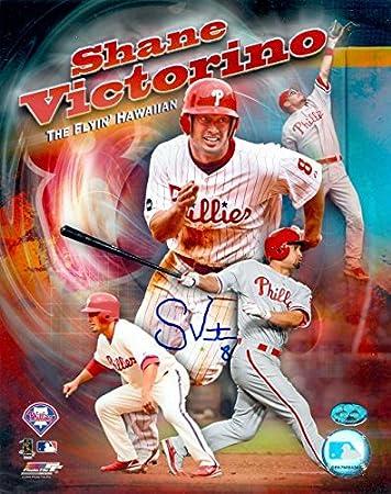 Shane Victorino Autographed 8x10 Photo Philadelphia Phillies Flyin Hawaiian POOR SIGNATURE