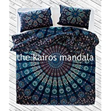 Vayu Handmade, Mandala Double Duvet Cover, Bohemian Duvet Cover, Mandala Bedding Double, Twin Queen or King Size with Pillowcases (Double/ Queen Size) by The Kairos