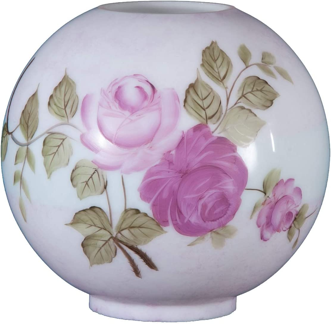 B/&P Lamp Hand Painted Victorian Roses Opal Shade