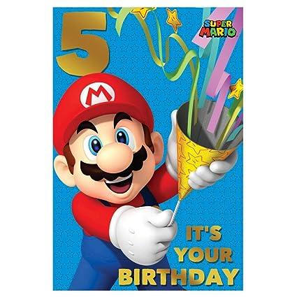 Super Mario - Tarjeta de felicitación para 5 cumpleaños ...
