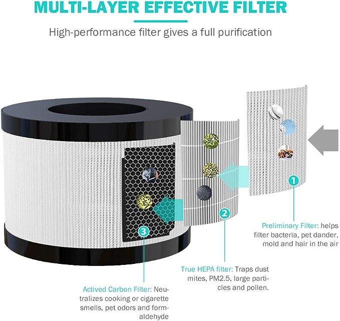 Filtro de repuesto para purificador de aire H-01 Medical Grade H13 Alerg/ías,Moho,Caspa de Mascota,Polen filtro HEPA y de carb/ón activo 3 Niveles de Filtrado contra 99,97/% de Polvos
