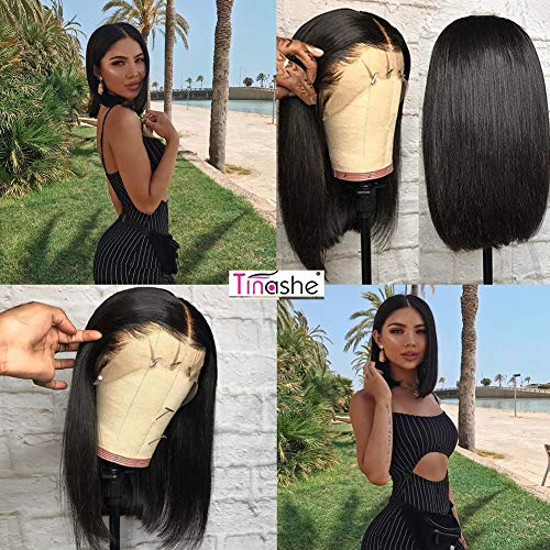 Tinashe Short Human Hair Wigs Bob Wig 13x4 Lace Front Human Hair Silk Straight Hair Wigs For Black Women (10 inch, natural color) (Amazon Wigs For Women)
