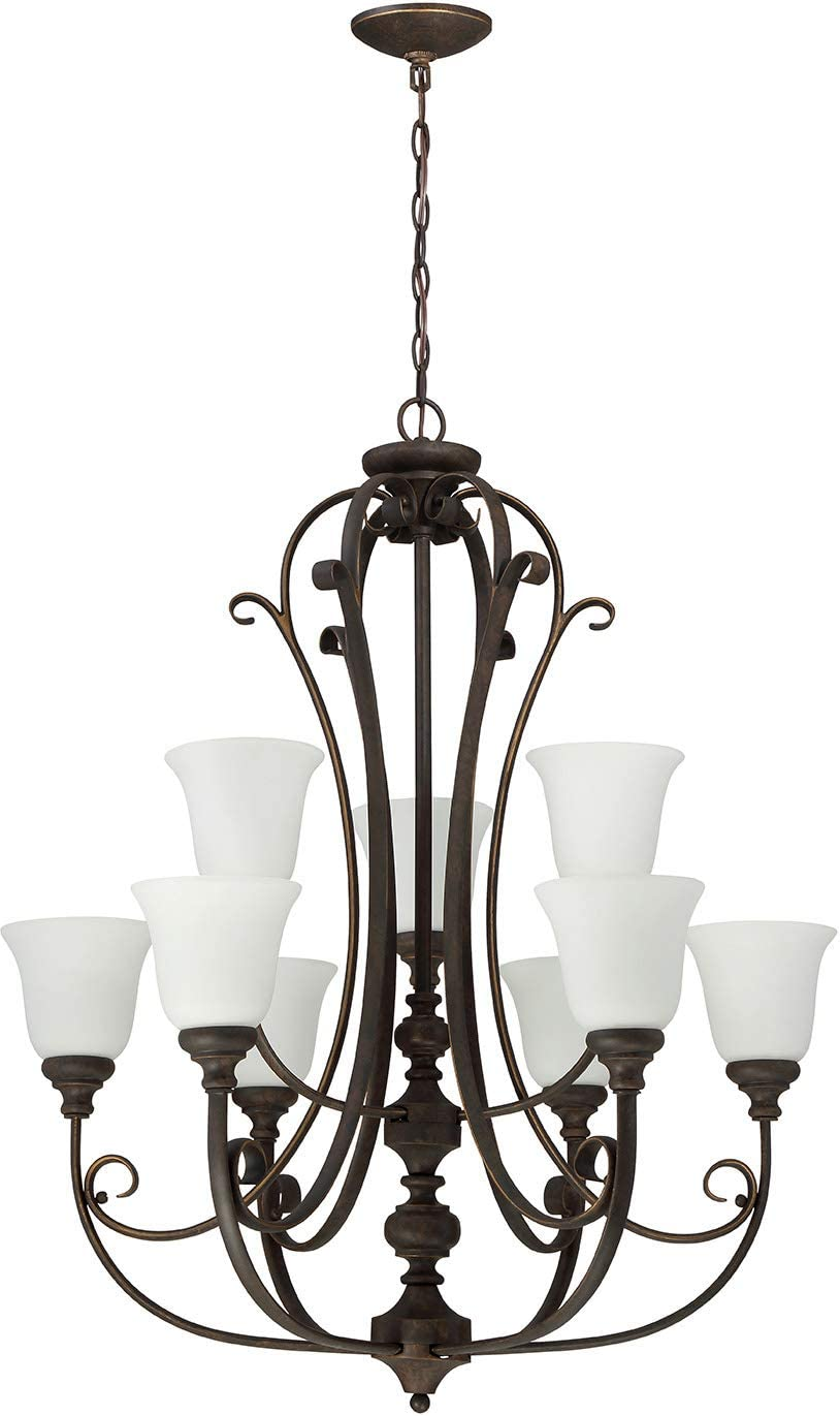 Craftmade 24229-MB-WG Barrett Place Scrollwork Chandelier, 9-Light 540 Watts 33 W x 38 H , Mocha Bronze