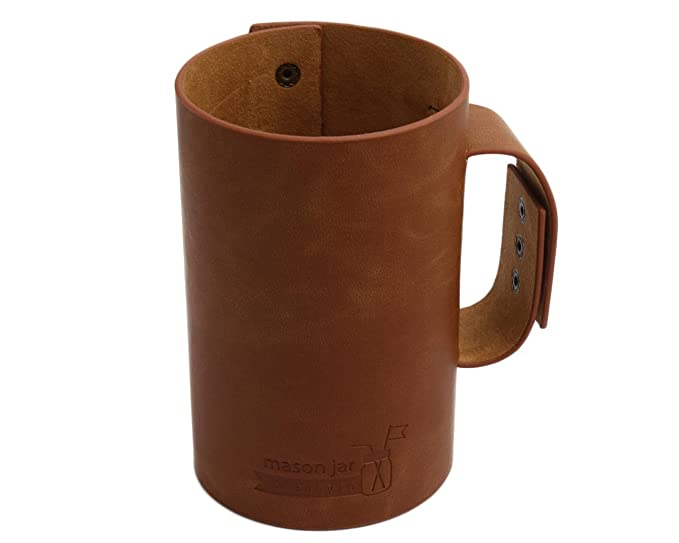 Enjoyable Faux Leather Sleeve With Handle Travel Mug For Pint Half 24Oz Mason Jars No Jar Forskolin Free Trial Chair Design Images Forskolin Free Trialorg