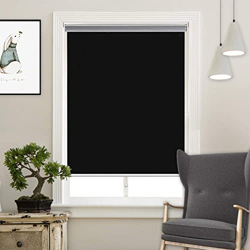 Acholo Blackout Roller Shades Black Roller Blinds for Windows 24 inch x 72 inch, Cordless Window Roller Shade for Home, Black