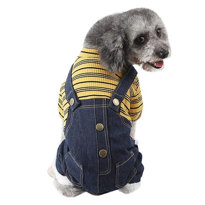 Geilisungren Ropa para Mascotas Perros pequeños, Verano Camiseta Chaleco, Pantalones Vaqueros para Cachorros, Perros pequeños y medianos, Rayas Ropa para ...