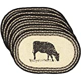 VHC Brands Bleached White Farmhouse Classic Country Tabletop & Kitchen Sawyer Mill Oval Jute Placemat Set of 6, One Size, Cow