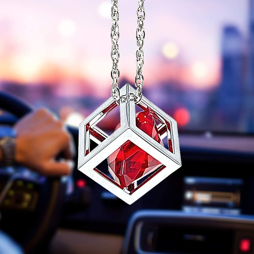 Red Diamond Cube Crystal Car Rear View Mirror Charms, Bling Car Accessories, Sun Catcher Hanging Ornament w/Chain, Car Charm & Home Decor Ornament (Red)