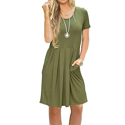 AUSELILY Women's Short Sleeve Pleated Loose Swing Casual Dress with Pockets Knee Length at Women's Clothing store