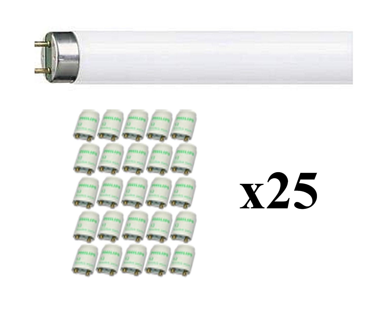 18W//865 1350 Lumen - 6500 K Bianca Fredda 25 Starter S2 Ecoclick da 18W inclusi Lotto di 25 Pezzi Lampadina Fluorescente MASTER TL-D Super 80 con attacco G13 1SL//25
