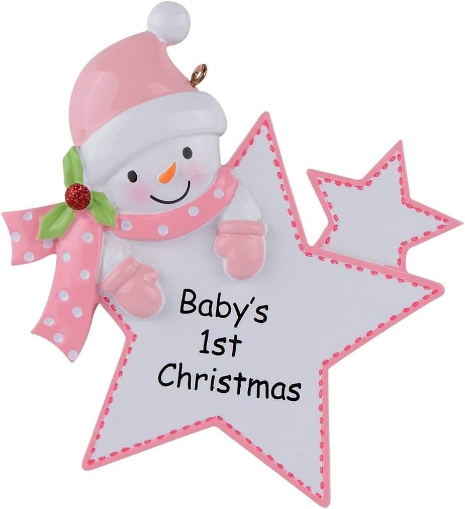 WorldWide Baby's 1st Christmas Ornament Baby Boy/Girl Star Christmas Personalized Gift(Pink)