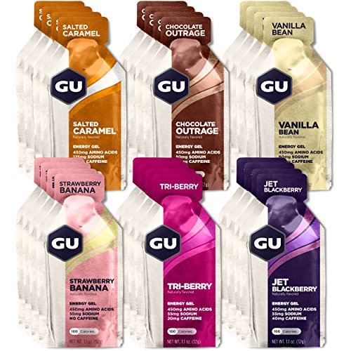 GU Energy Original Sports Nutrition Energy Gel, Assorted Flavors, 24-Count Box - Fiber Chews Chocolate