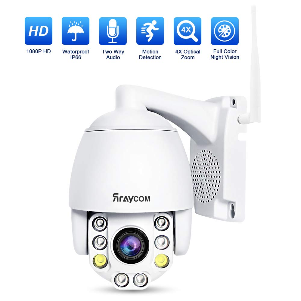 Rraycom PTZ WiFi Security Camera Outdoor, Weatherproof Surveillance CCTV, 1080p Wireless IP Dome Camera, 4X Optical Zoom, 2-Way Audio, Night Vision Full Color, Support IE Access ONVIF Protocol