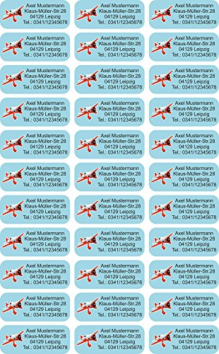 INDIGOS UG Name Sticker / Sticker - 56x23 mm - 056 - airplane - 99 pieces for children, school and kindergarten - pens, feather cap, rulers - individually printable - also for adults