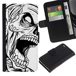 KLONGSHOP // Tirón de la caja Cartera de cuero con ranuras para tarjetas - Zombie Cráneo gótico B & W - Apple Iphone 4 / 4S //