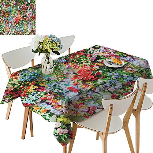 (UHOO2018 Solid Tablecloth Flowers Blooming Like a Piece of Brocade Square/Rectangle Spillproof Fabric Tablecloth,54 x120inch. )