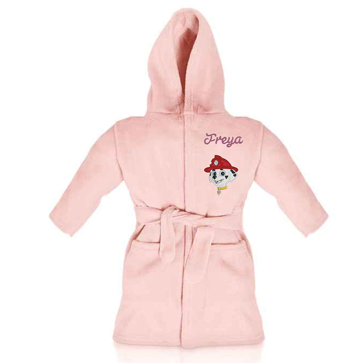 Marshall (Paw Patrol) Personalised & Applique Super Soft Fleece Dressing Gown/Bathrobe (Pink) Marshall DG