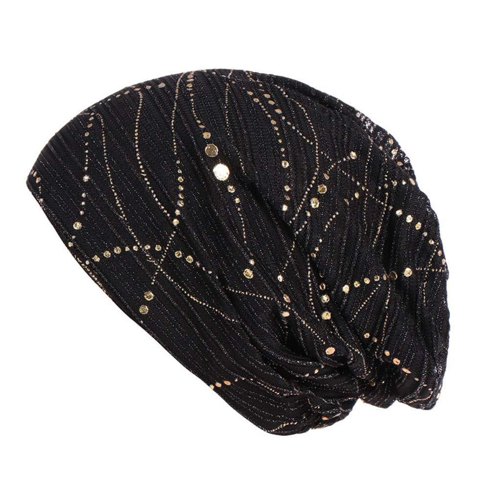 Teresamoon Women Solid Bead Muslim Hat Stretch Retro Turban Hat Head Wrap Cap Sale