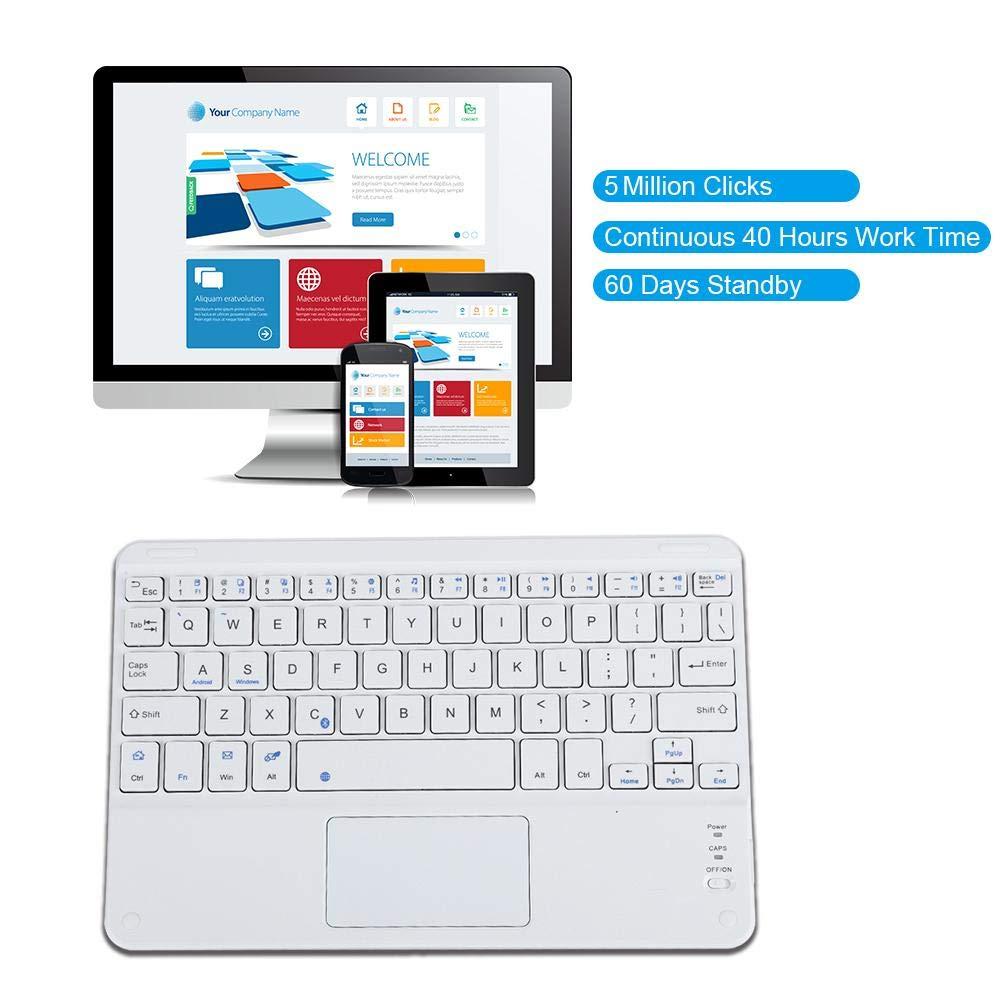 9 Pulgadas Teclado Ultra Delgado Bluetooth Touchpad Tijeras Pies Dise/ño con bater/ía de Gran Capacidad para Android//iOS//Windows Pokerty Teclado Bluetooth