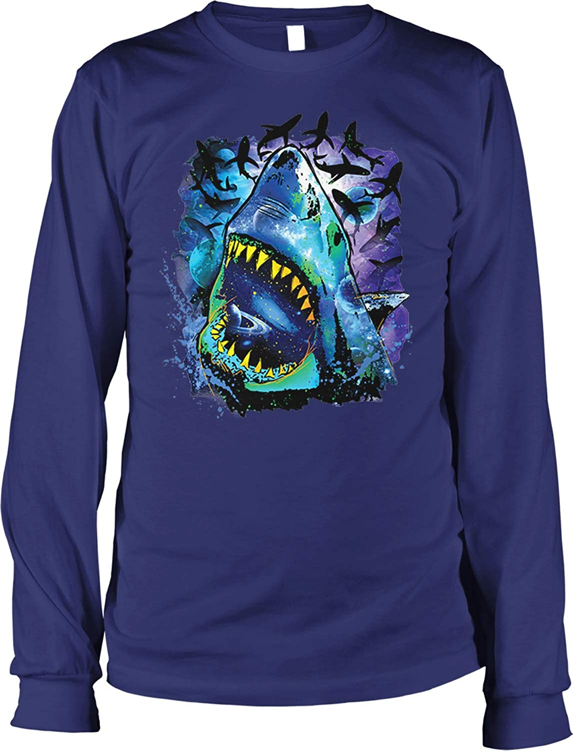 Hoodteez Great White, Cosmos, Galaxy, Space Pattern Men's Long Sleeve Shirt