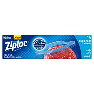 Ziploc Freezer Bags with new Grip 'n Seal Technology, Gallon, 14 Count