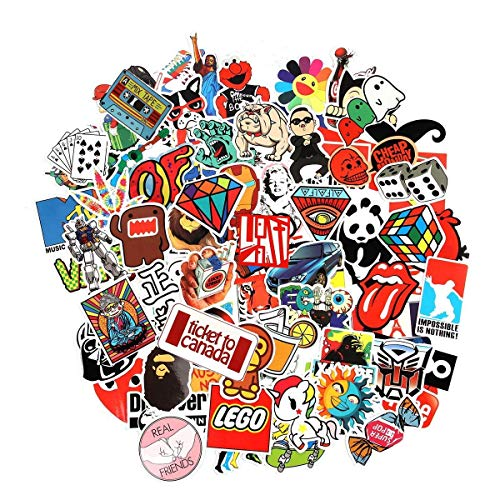 Cool Sticker 100pcs Random Music Film Vinyl Skateboard Guitar Travel Case Sticker Door Laptop Luggage Car Bike Bicycle Stickers (100pcs) -
