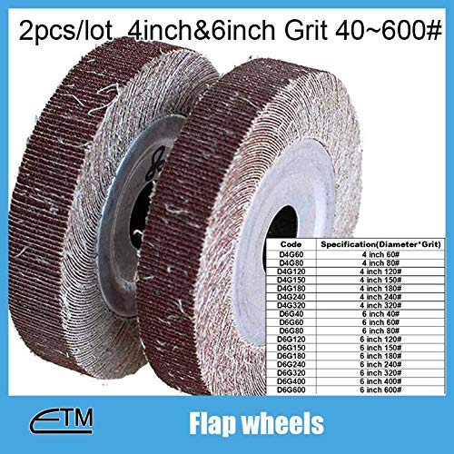 Maslin 2pieces flap wheel sanding paper polishing wheel for metal steel polishing 4 inch and 6 inch rough and fine grit 40 to 600 TZ72 - (Grit: D6G150)