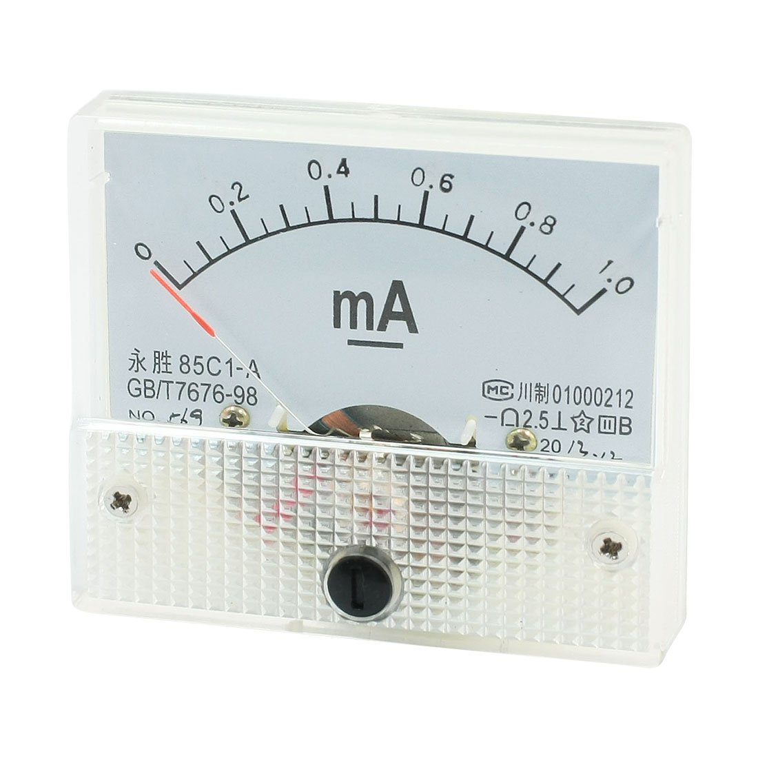 Sourcingmap - 64mm x 56mm rectangular dc 0-1ma amperí metro medidor de panel analó gico-85c1 una US-SA-AJD-47846