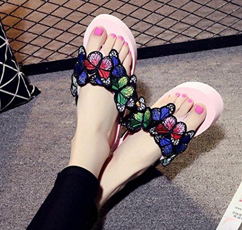 Femme pour de Été Et de épais Talon CHENGXIAOXUAN Avec Chaussures Pantoufles Tongs Sandales Romaines Chaussures Papillons Plage à Antidérapantes Brodées Stylées B Décontractées Pantoufles Fond 5Efzqwqn0