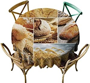 """Circular Table Cover Harvest,Various Stages of Bread Making from Wheat to Final Product Collage Pattern,Earth Yellow Brown Diameter 36"""" Tulle Round Tablecloth"""