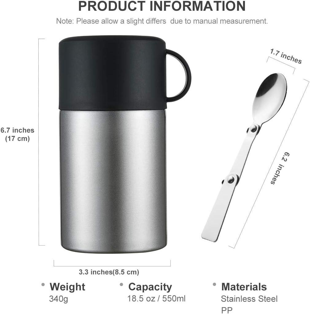 acero inoxidable termo para alimentos Oneisall GYBL116/Termo de 450/ml para estudiantes con cuchara plegable y asa, mini termo aislante para comida y sopa para ni/ños, 384/g