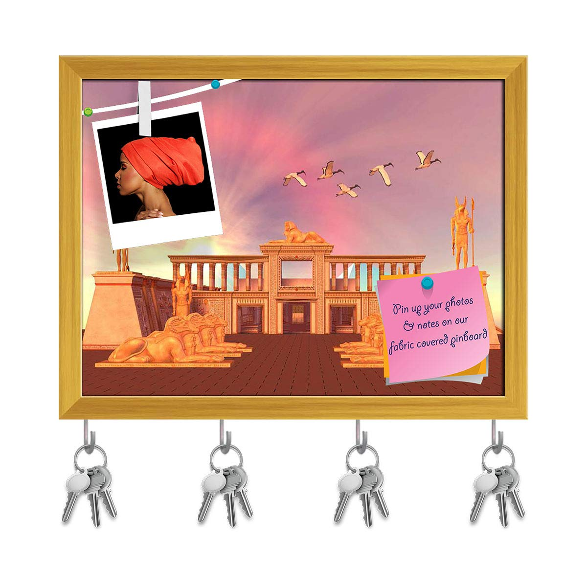 ArtzFolio Sacred Ibis Birds Fly Over An Egyptian Palace Key Holder Hooks Notice Pin Board Natural Brown Frame 13 X 10Inch