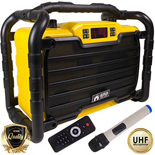 EMB Home PKL490Y PK2 300W Jobsite Water Splash Proof / Shockproof / Dustproof Bluetooth Stereo Rechargeable Power Box Speaker - Perfect for Construction Site/ Beach / DJ Party / Shop / Home / Camp by EMB