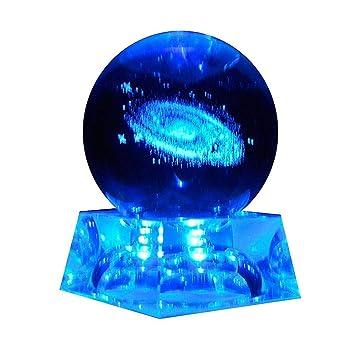 Sistema Solar Bola De Cristal Con Iluminación Base 3D Grabado Con Láser Galaxia Bola Cristal Lámpara Esfera Cristal Planeta Decorativo Miniaturas ...