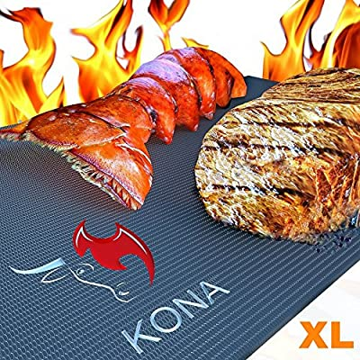 "Kona XL Best Grill Mat & Oven Liner - BBQ Grill Mat Covers The Entire Grill & Oven Bottom - Premium Non-Stick 25""x17"" from Nickle's Arcade LLC"