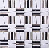 TIMLG-01 2x2 Black and White Square Marble and Silver Aluminum Mosaic Tile-Kitchen and Bath backsplash Wall Tile