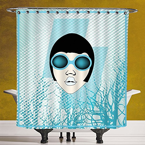 Funky Shower Curtain 3.0 by SCOCICI [ Indie,Retro Woman Portrait with Vintage Sunglasses Short Hair Abstract Trees Decorative,Light Blue Black White ] Fabric Shower - Sunglasses Fallout 4
