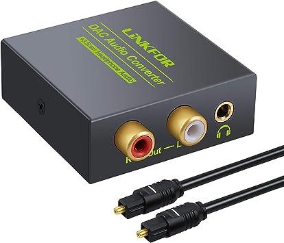 LiNKFOR DAC Convertidor de Audio Digital a Analógico Conversor de Coaxial Optico a Audio Analógico RCA