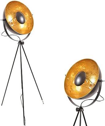 Lampara Vintage Satelite Tripode Negro Pie Dorada Foco Mesa Moderna Diseno Metal Cine Industrial Retro Cobre Comedor: Amazon.es: Iluminación