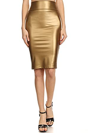 86fe4bde115 TOPPING Women s High Waisted Versatile Faux Leather Midi Pencil ...