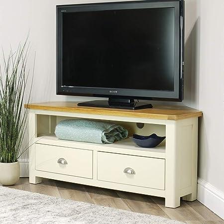 Aspen - Mueble esquinero para televisor (110 cm, Madera de Roble), Color Crema: Amazon.es: Hogar