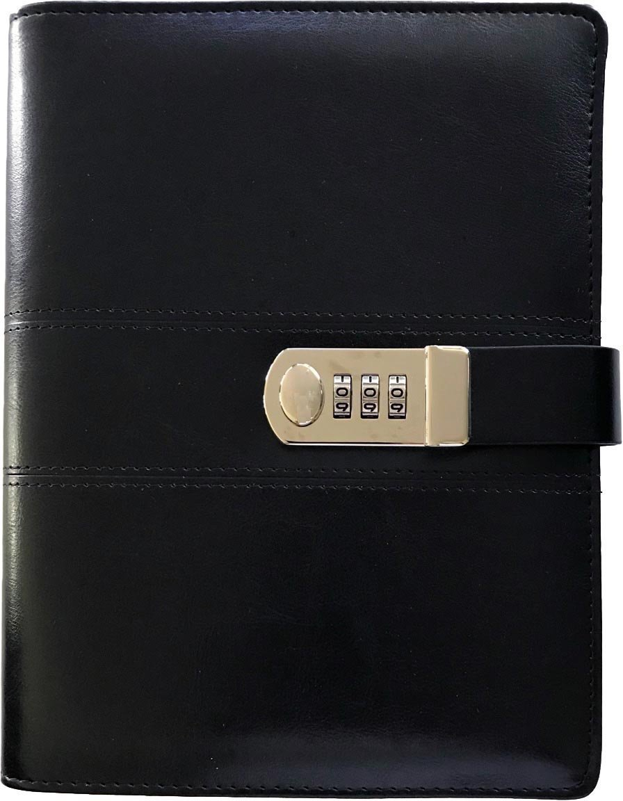 Business Journal With Combination Lock, Diary Size A5 (8.5 X 5.8 Inch) The PU Leather Combination Lock Journal ( Combination Lock Diary ) Is A Refillable Leather Journal (Black Color) by Too Personal (Image #4)