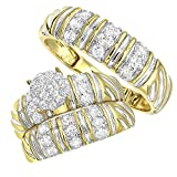10K Gold Matching Bridal Sets Diamond Engagement Ring and Wedding Bands for His and Her 1.2ctw