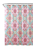 Pink and Turquoise Shower Curtain Colorful Fabric Shower Curtain: Floral Medallion Geo Design, Blue Turquoise Yellow Gray White (Hot Pink Orange Lime Green Blue)