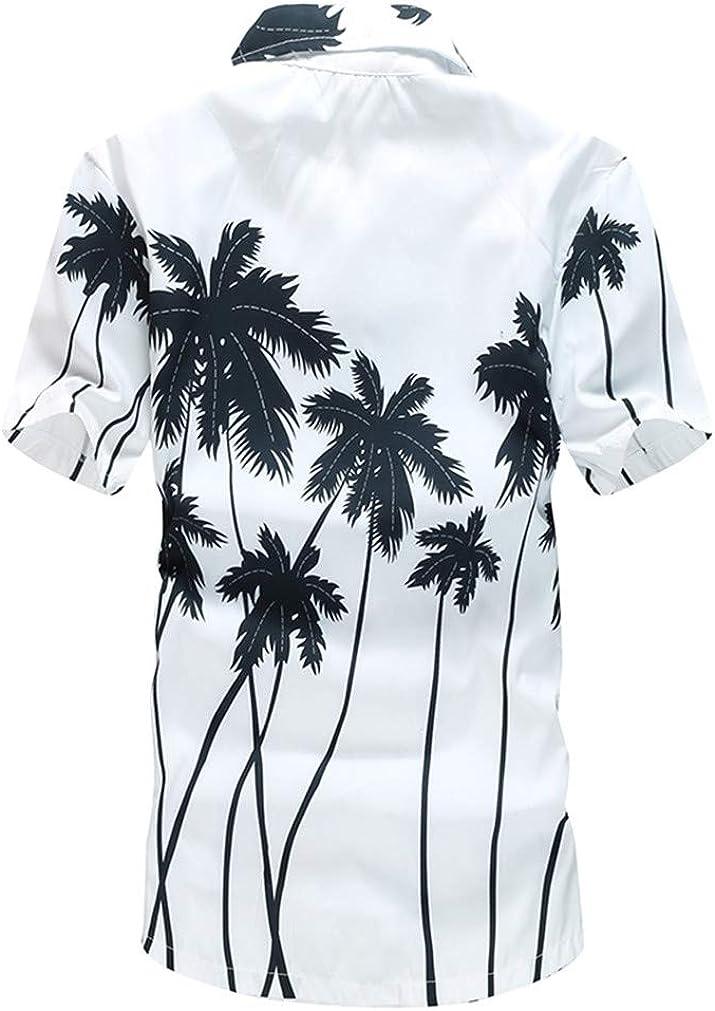 Summer Hawaiian Mens Hawaii Beach Shirt Chemise Homme Coconut Palm Prints Loose Casual Shirts