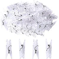 Color Scissor 100pcs Clear Clips, Mini Clothespins Plastic Hanging Photos Clip