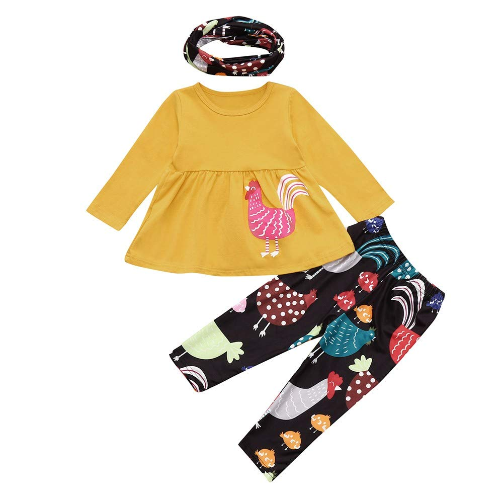 Fheaven (TM) Kids Baby Girl Christmas Clothes Hen Printing Mini Dress Tops + Pants Costume Outfits Set (24 Months, Yellow)